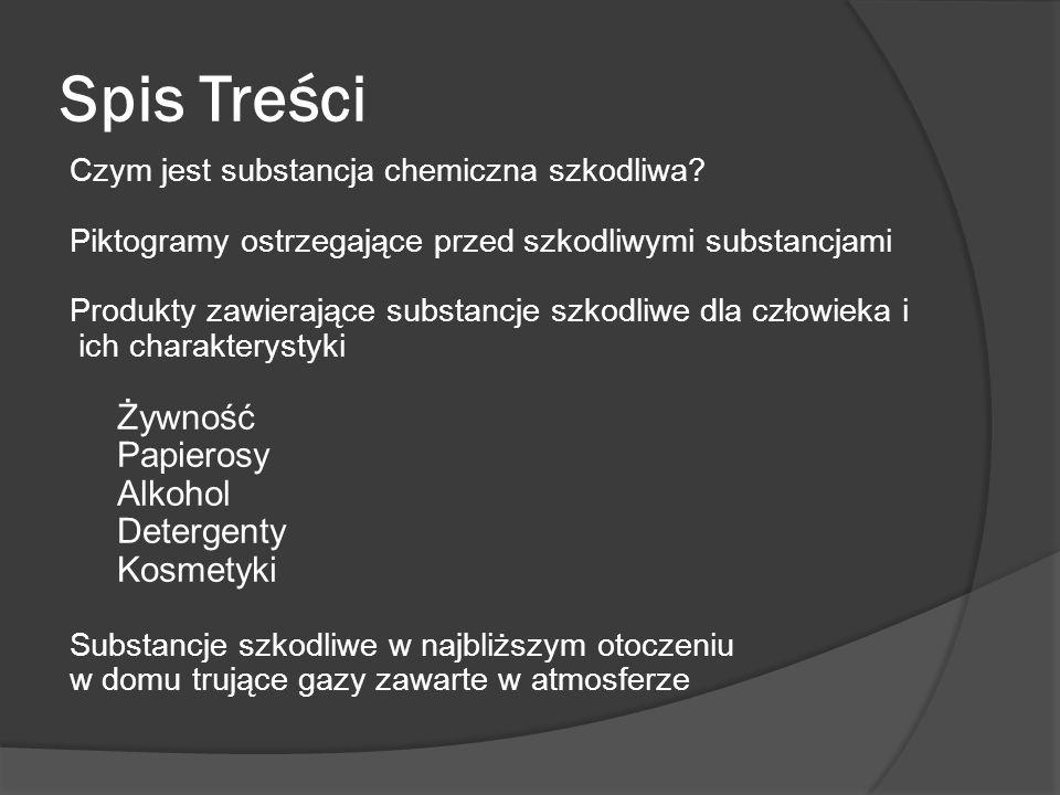 Spis Treści Czym jest substancja chemiczna szkodliwa? Piktogramy ostrzegające przed szkodliwymi substancjami Produkty zawierające substancje szkodliwe