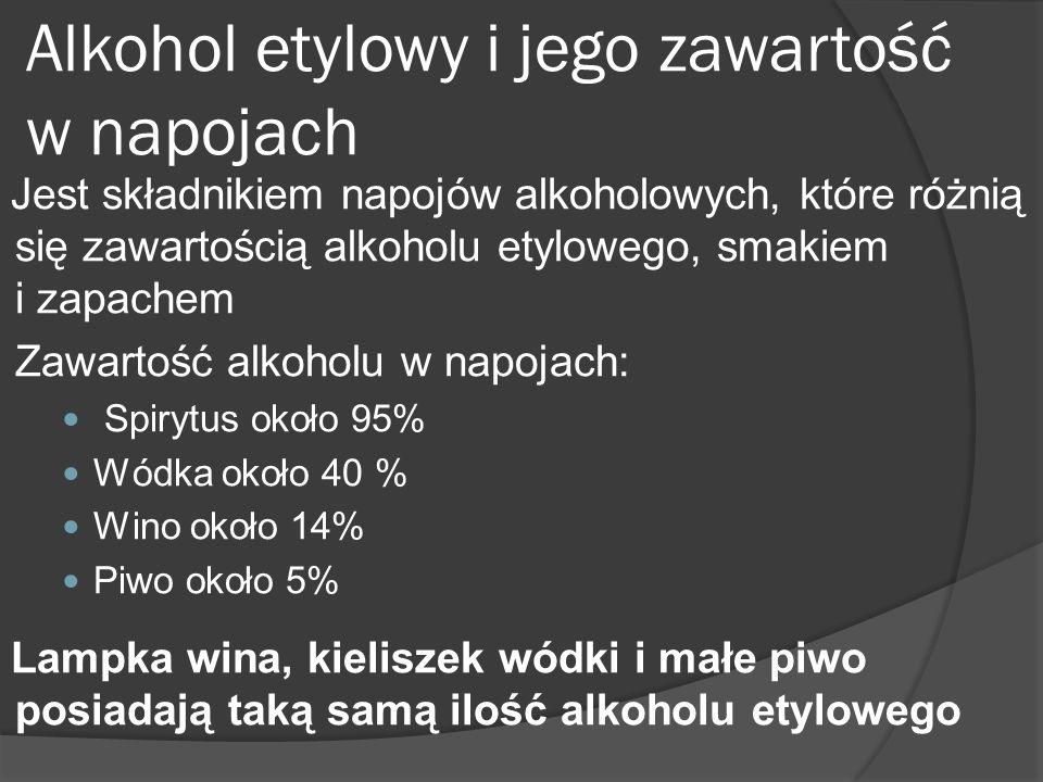 Alkohol etylowy i jego zawartość w napojach Jest składnikiem napojów alkoholowych, które różnią się zawartością alkoholu etylowego, smakiem i zapachem