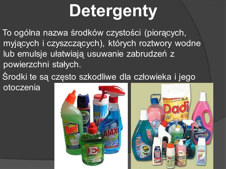 Detergenty To ogólna nazwa środków czystości (piorących, myjących i czyszczących), których roztwory wodne lub emulsje ułatwiają usuwanie zabrudzeń z p