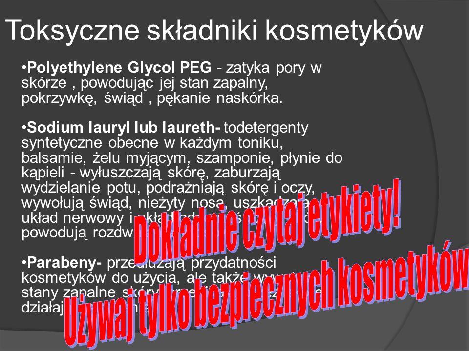 Polyethylene Glycol PEG - zatyka pory w skórze, powodując jej stan zapalny, pokrzywkę, świąd, pękanie naskórka. Sodium lauryl lub laureth- todetergent