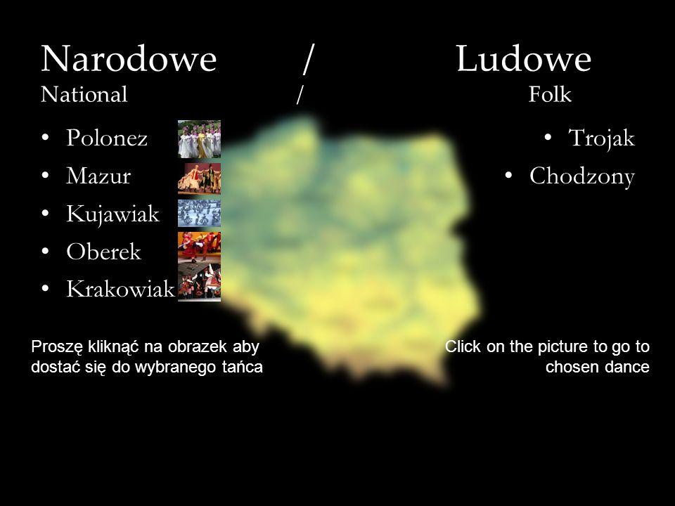 Narodowe / Ludowe National / Folk Polonez Mazur Kujawiak Oberek Krakowiak Trojak Chodzony Proszę kliknąć na obrazek aby dostać się do wybranego tańca
