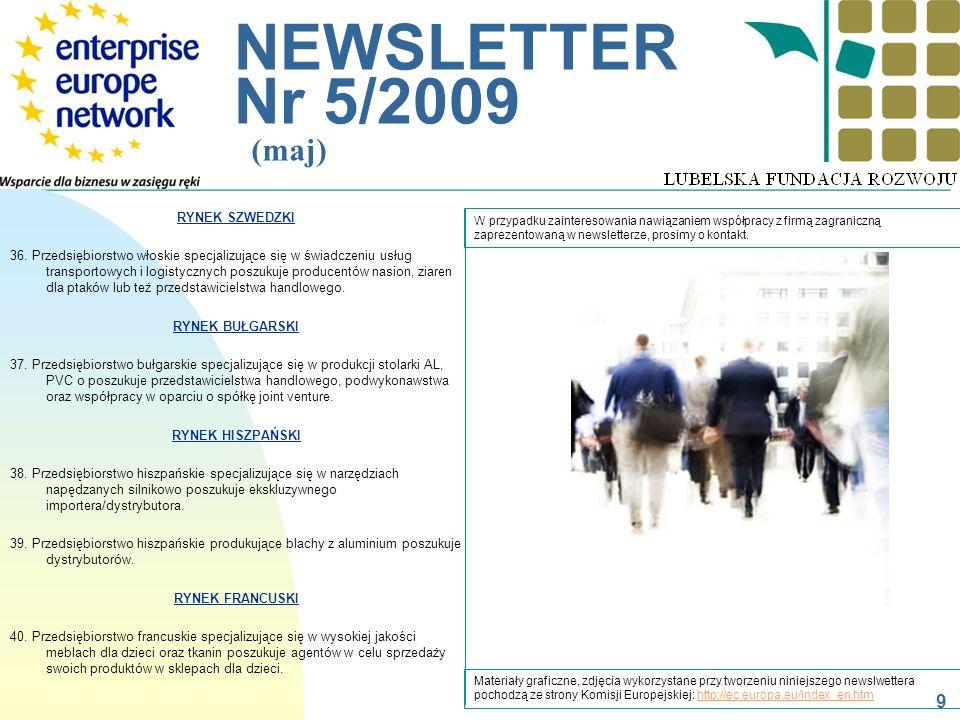 __________________________________________________________ NEWSLETTER Nr 5/2009 (maj) W przypadku zainteresowania nawiązaniem współpracy z firmą zagra