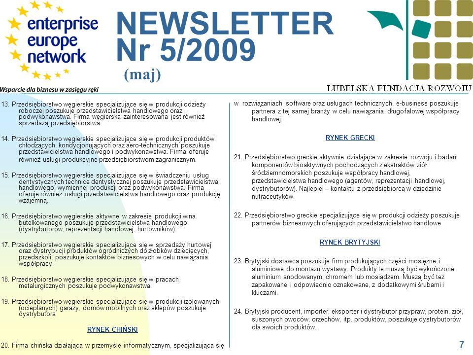 __________________________________________________________ NEWSLETTER Nr 5/2009 (maj) 13. Przedsiębiorstwo węgierskie specjalizujące się w produkcji o