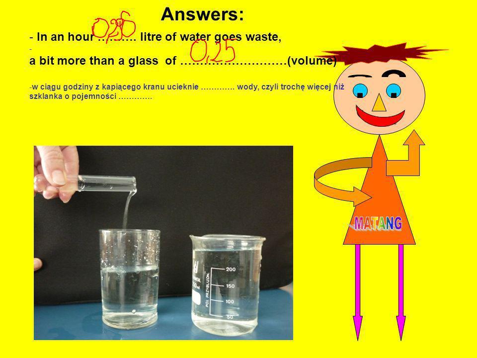 , - In an hour ………. litre of water goes waste, - a bit more than a glass of ………………………(volume) -w ciągu godziny z kapiącego kranu ucieknie …………. wody,