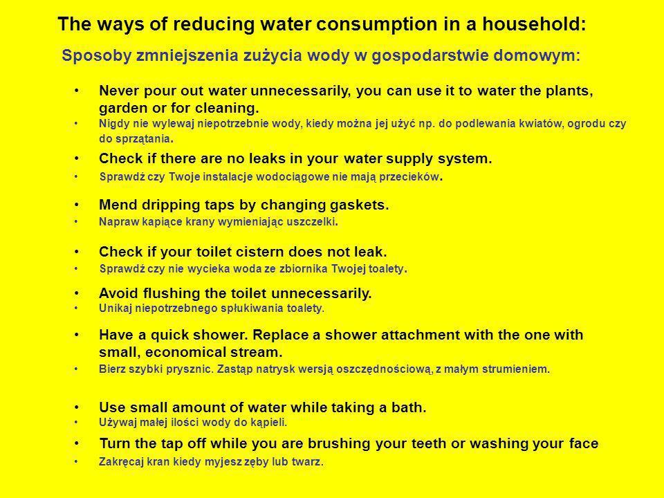 The ways of reducing water consumption in a household: Sposoby zmniejszenia zużycia wody w gospodarstwie domowym: Turn the tap off while you are brush