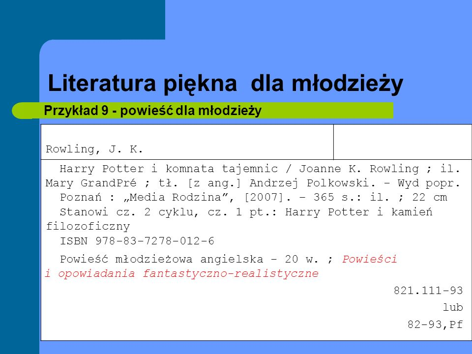 Literatura piękna dla młodzieży Przykład 9 - powieść dla młodzieży Rowling, J. K. Harry Potter i komnata tajemnic / Joanne K. Rowling ; il. Mary Grand