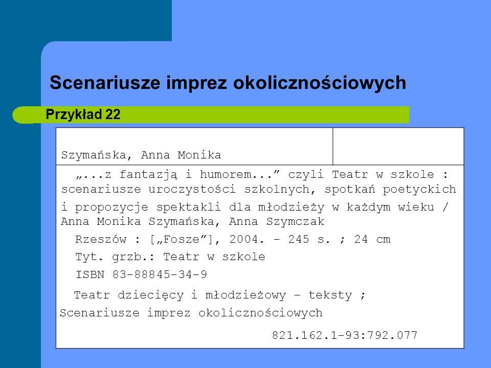 Scenariusze imprez okolicznościowych Przykład 22 Szymańska, Anna Monika...z fantazją i humorem... czyli Teatr w szkole : scenariusze uroczystości szko