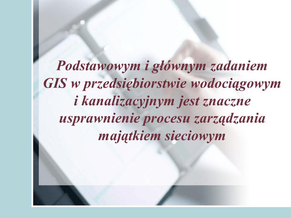 Istota projektu: Stworzenie bazy danych, przy wykorzystaniu aplikacji komputerowej Mb_GIS, która powiąże dane opisowe elementów sieci kanalizacyjnej z ich atrybutami geoprzestrzennymi na mapie numerycznej.