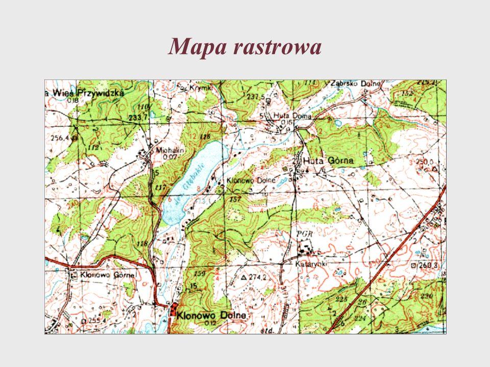 Mapa wektorowa składa się z grupy obiektów, które są opisywane współrzędnymi w przyjętym układzie współrzędnych.