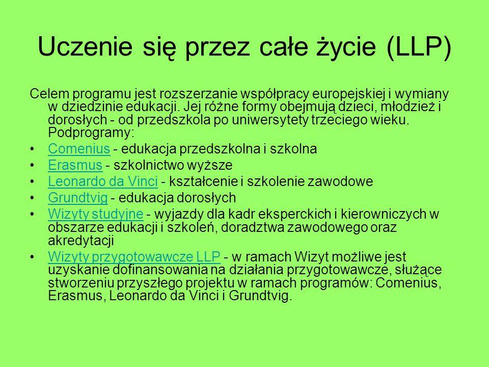Uczenie się przez całe życie (LLP) Celem programu jest rozszerzanie współpracy europejskiej i wymiany w dziedzinie edukacji.