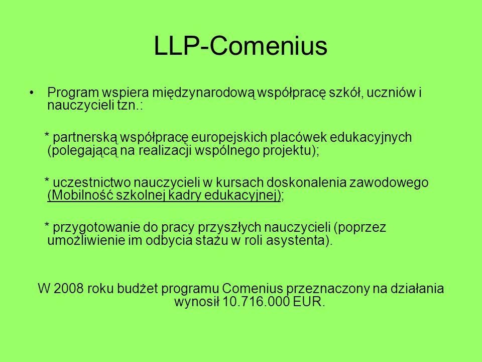 LLP-Comenius Program wspiera międzynarodową współpracę szkół, uczniów i nauczycieli tzn.: * partnerską współpracę europejskich placówek edukacyjnych (polegającą na realizacji wspólnego projektu); * uczestnictwo nauczycieli w kursach doskonalenia zawodowego (Mobilność szkolnej kadry edukacyjnej); * przygotowanie do pracy przyszłych nauczycieli (poprzez umożliwienie im odbycia stażu w roli asystenta).
