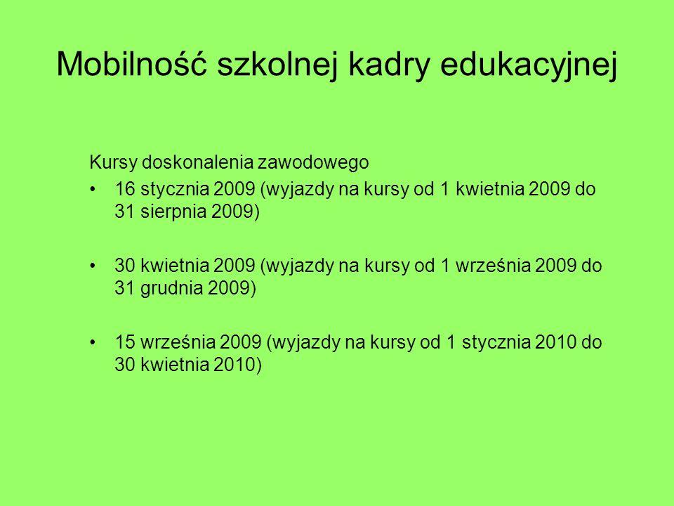 Mobilność szkolnej kadry edukacyjnej Kursy doskonalenia zawodowego 16 stycznia 2009 (wyjazdy na kursy od 1 kwietnia 2009 do 31 sierpnia 2009) 30 kwietnia 2009 (wyjazdy na kursy od 1 września 2009 do 31 grudnia 2009) 15 września 2009 (wyjazdy na kursy od 1 stycznia 2010 do 30 kwietnia 2010)