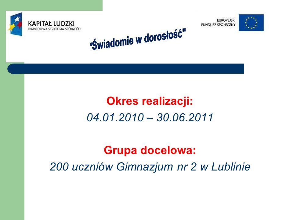 Okres realizacji: 04.01.2010 – 30.06.2011 Grupa docelowa: 200 uczniów Gimnazjum nr 2 w Lublinie