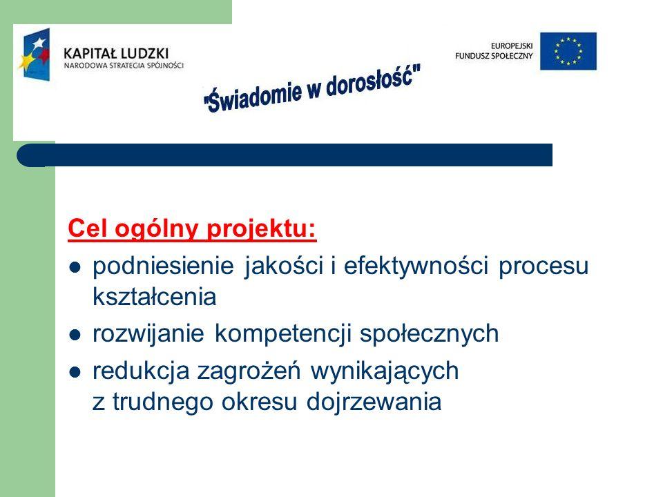 Cel ogólny projektu: podniesienie jakości i efektywności procesu kształcenia rozwijanie kompetencji społecznych redukcja zagrożeń wynikających z trudnego okresu dojrzewania