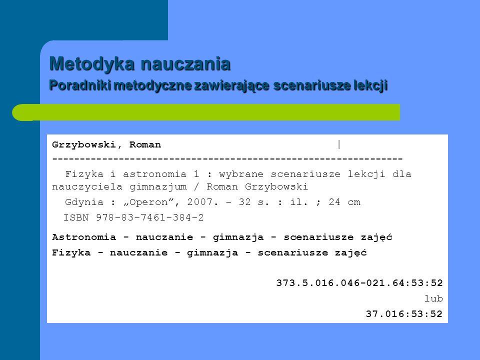 Metodyka nauczania Poradniki metodyczne zawierające scenariusze lekcji Grzybowski, Roman | -----------------------------------------------------------