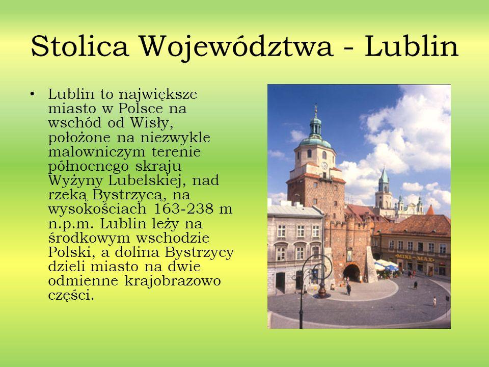 Stolica Województwa - Lublin Lublin to największe miasto w Polsce na wschód od Wisły, położone na niezwykle malowniczym terenie północnego skraju Wyży