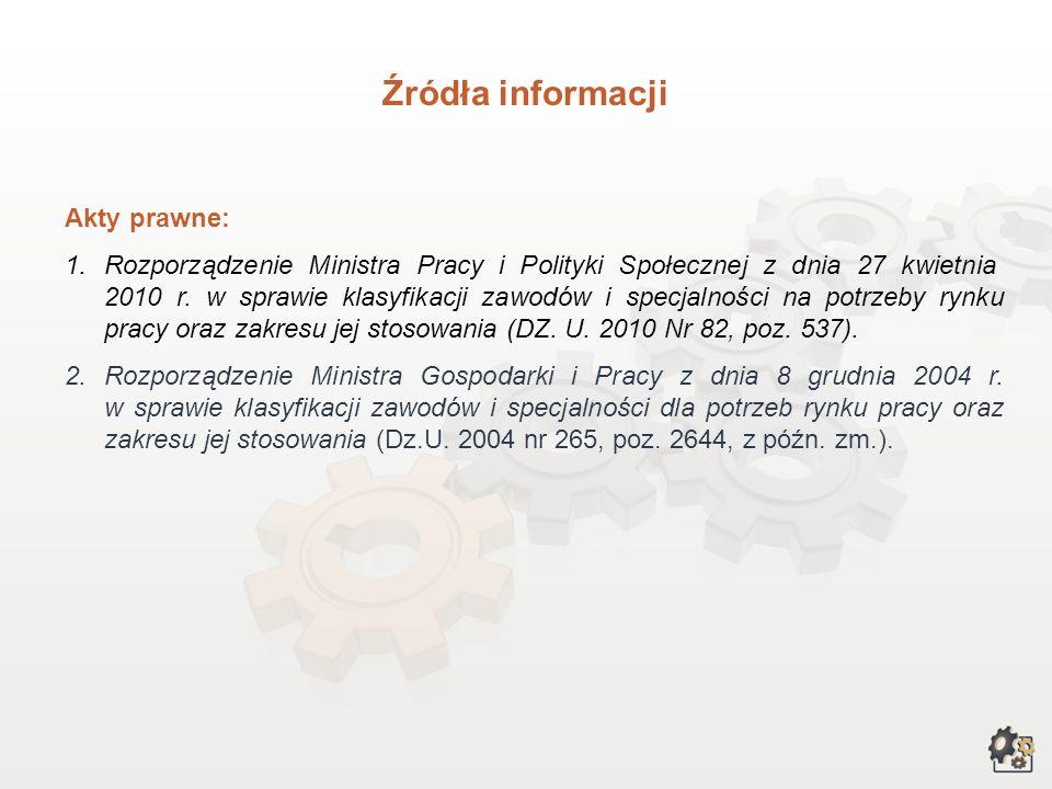 Akty prawne: 1.Rozporządzenie Ministra Pracy i Polityki Społecznej z dnia 27 kwietnia 2010 r.