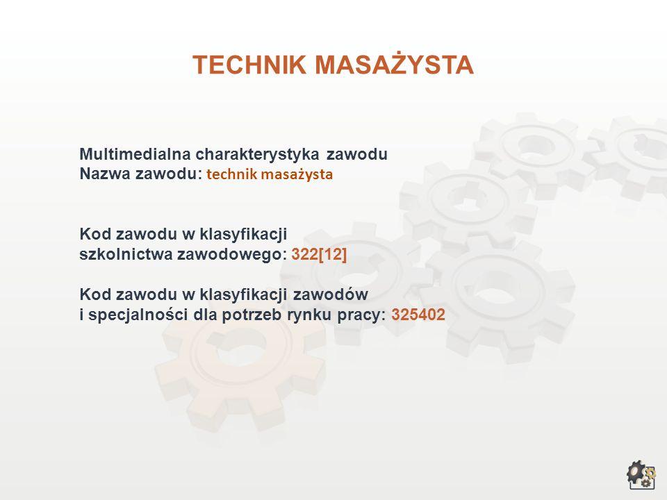 TECHNIK MASAŻYSTA Multimedialna charakterystyka zawodu Nazwa zawodu: technik masażysta Kod zawodu w klasyfikacji szkolnictwa zawodowego: 322[12] Kod zawodu w klasyfikacji zawodów i specjalności dla potrzeb rynku pracy: 325402