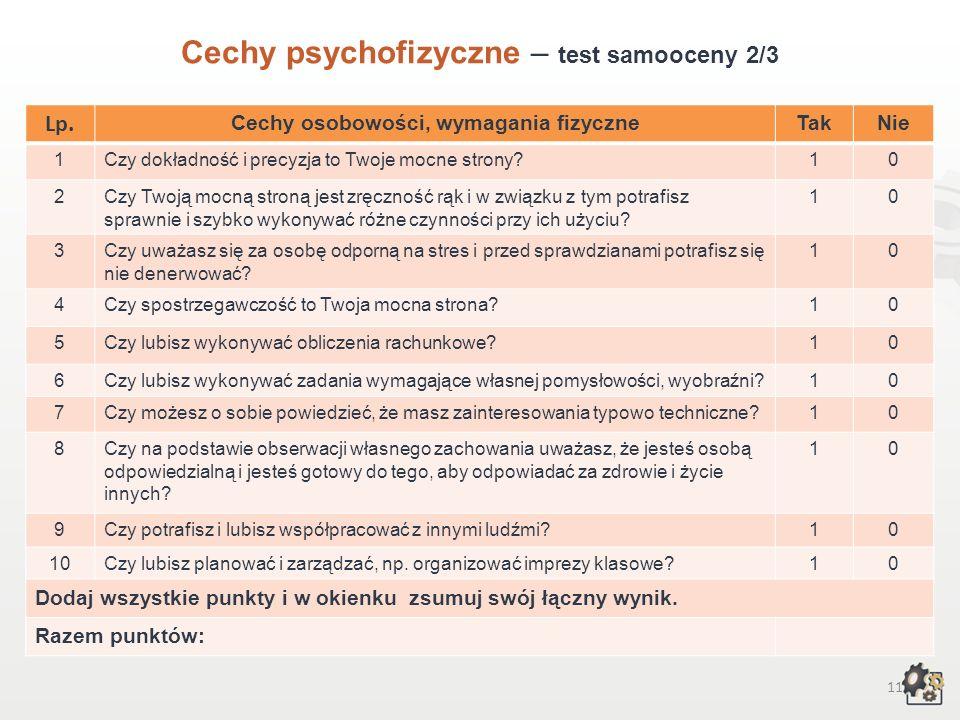 10 Cechy psychofizyczne Test samooceny 1/3 Decydując się na podjęcie pracy w zawodzie operatora urządzeń przemysłu chemicznego, powinniśmy przede wszy