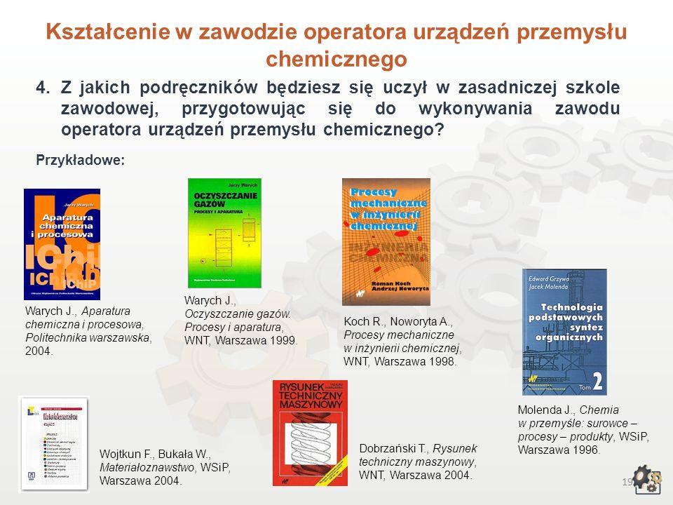 18 Kształcenie w zawodzie operatora urządzeń przemysłu chemicznego W ramach modułu: 3.1 Fizykochemiczne podstawy chemicznych procesów przemysłowych: p
