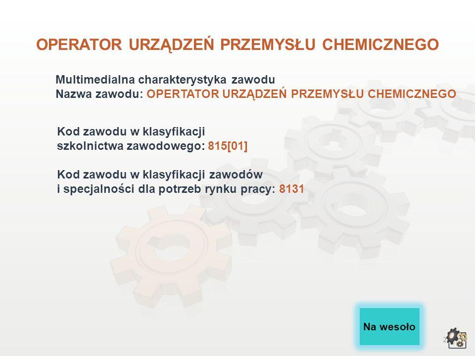 22 Rynek pracy Czy wiesz, że: Typowym stanowiskiem pracy w zawodzie operatora urządzeń przemysłu chemicznego jest aparatowy procesów chemicznych w przedsiębiorstwach przemysłu chemicznego, np.