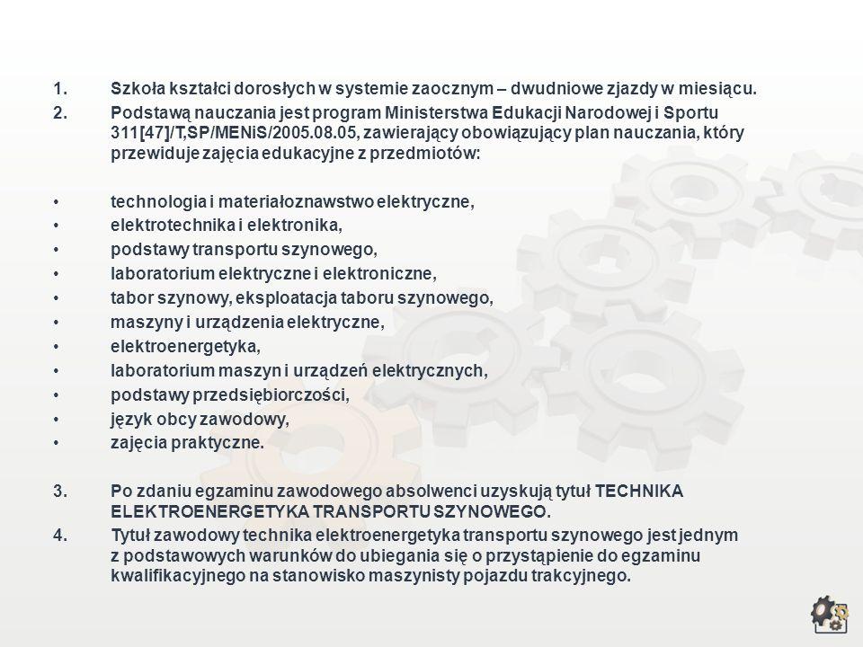Kształcenie w zawodzie technika elektroenergetyka transportu szynowego : Aby przygotować się do zawodu, możesz wybrać: czteroletnie technikum dla abso