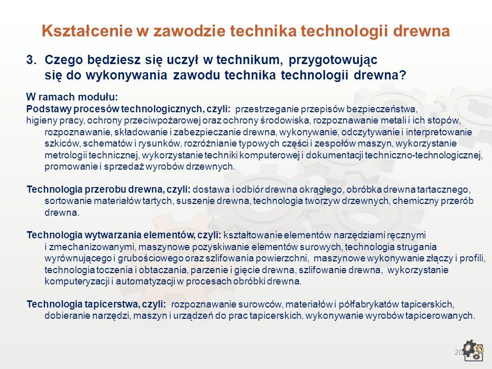19 Kształcenie w zawodzie technika technologii drewna 1.Aby pracować w zawodzie technika technologii drewna, możesz: 1.1. Jako absolwent gimnazjum – w