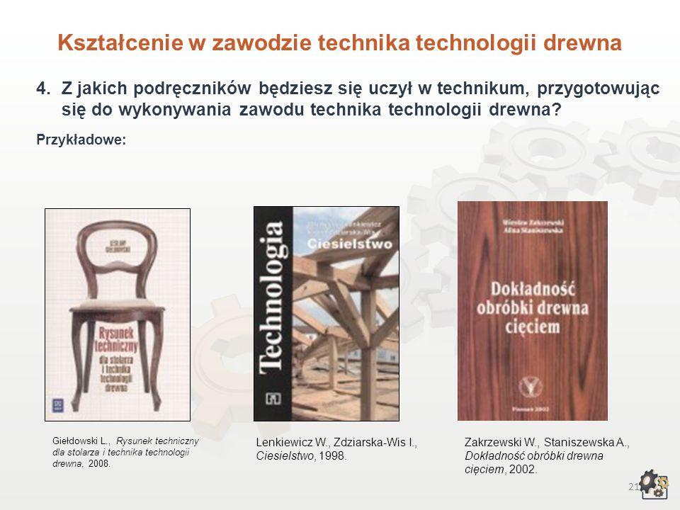 20 Kształcenie w zawodzie technika technologii drewna 3.Czego będziesz się uczył w technikum, przygotowując się do wykonywania zawodu technika technol