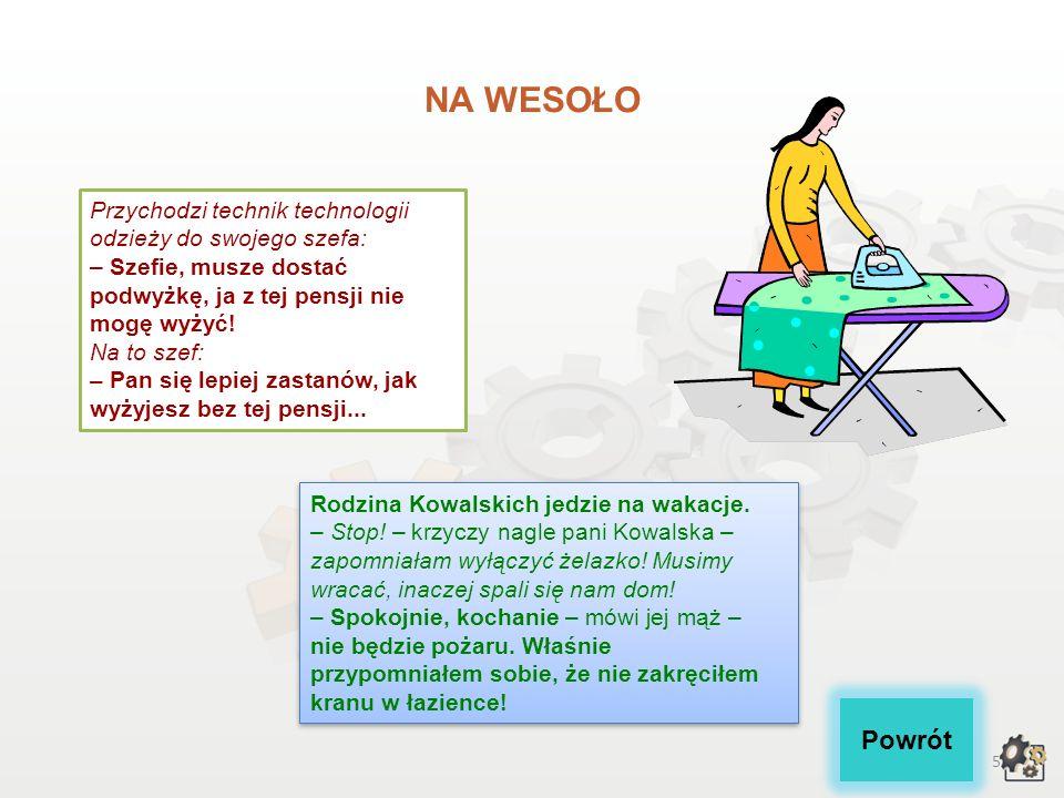 25 NA WESOŁO Powrót Pani od polskiego pyta Jasia: - Powiedz mi, jakiego rodzaju jest krawiec.
