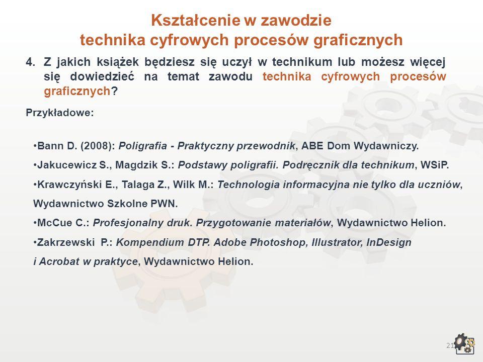 20 Kształcenie w zawodzie technika cyfrowych procesów graficznych W ramach bloku programowego: 3.2.Podstawy poligrafii i informatyki: posługiwać się terminologią z zakresu poligrafii i informatyki, charakteryzować rodzaje plików i formatów graficznych, charakteryzować procesy i wyroby poligraficzne, charakteryzować techniki drukowania, charakteryzować cyfrowe procesy poligraficzne, charakteryzować budowę cyfrowych urządzeń poligraficznych, określać ich zastosowanie oraz wyjaśniać zasady działania, posługiwać się narzędziami informatycznymi, posługiwać się instrukcjami obsługi maszyn i urządzeń, oceniać jakość oraz estetykę wykonywanych prac.