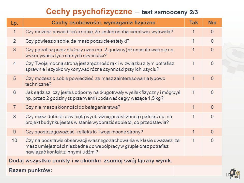 10 Cechy psychofizyczne Test samooceny 1/3 Decydując się na podjęcie pracy w zawodzie posadzkarza, powinniśmy przede wszystkim wziąć pod uwagę swoje m