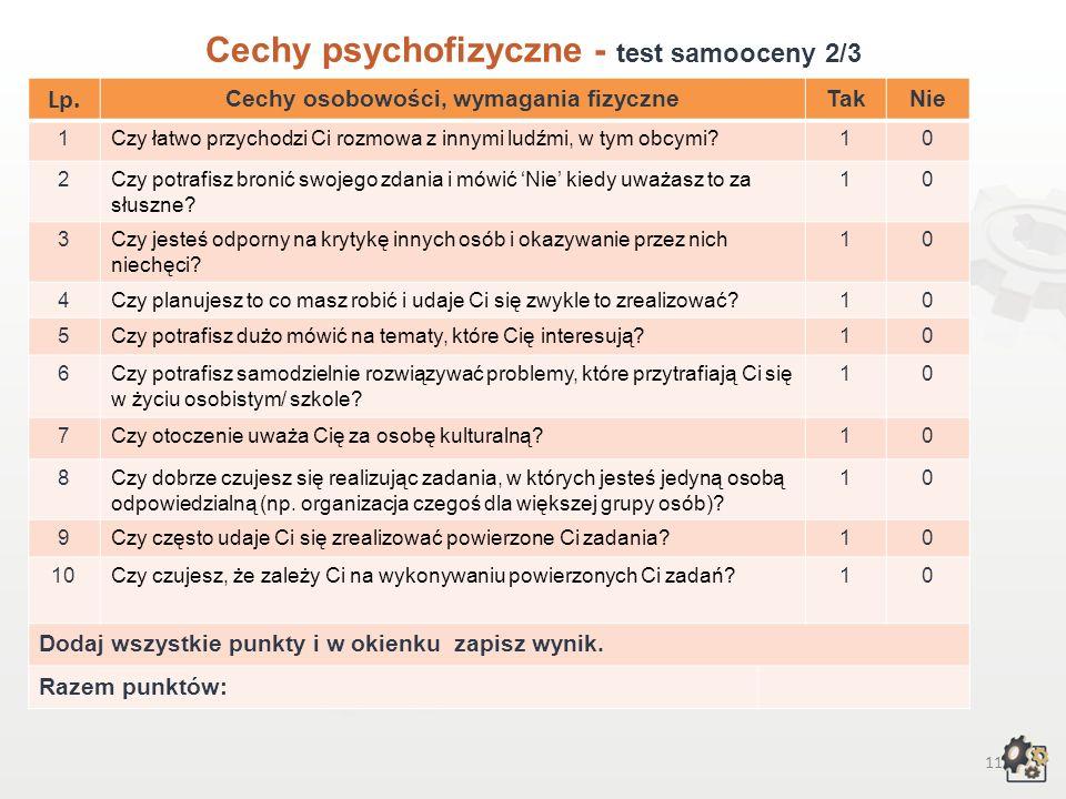 10 Cechy psychofizyczne Test samooceny 1/3 Decydując się na podjęcie pracy w zawodzie technik handlowiec, powinniśmy przede wszystkim wziąć pod uwagę