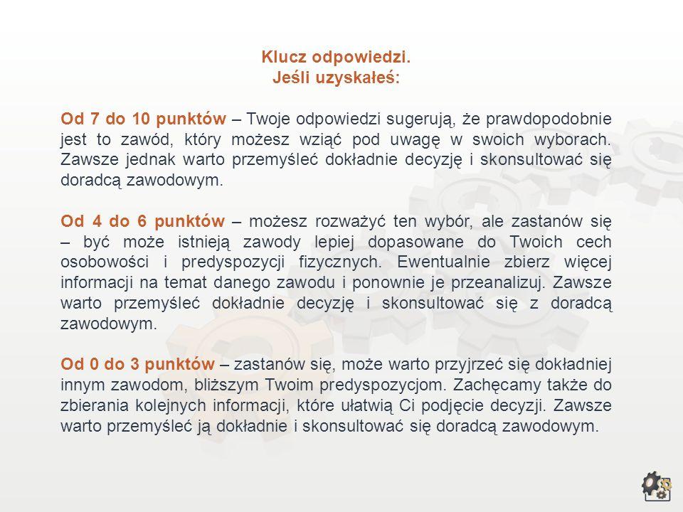 Lp.Cechy osobowości, predyspozycje fizyczneTakNie 1.