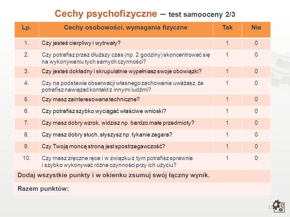 11 Cechy psychofizyczne Test samooceny 1/3 Decydując się na podjęcie pracy w zawodzie zegarmistrza, powinniśmy przede wszystkim wziąć pod uwagę swoje