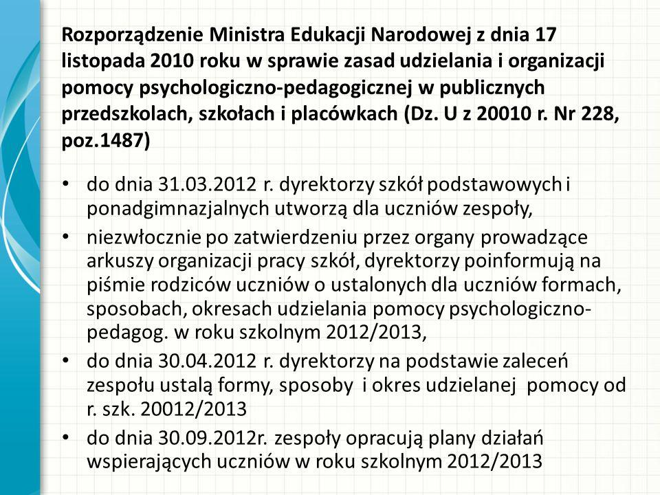 Rozporządzenie Ministra Edukacji Narodowej z dnia 17 listopada 2010 roku w sprawie zasad udzielania i organizacji pomocy psychologiczno-pedagogicznej w publicznych przedszkolach, szkołach i placówkach (Dz.