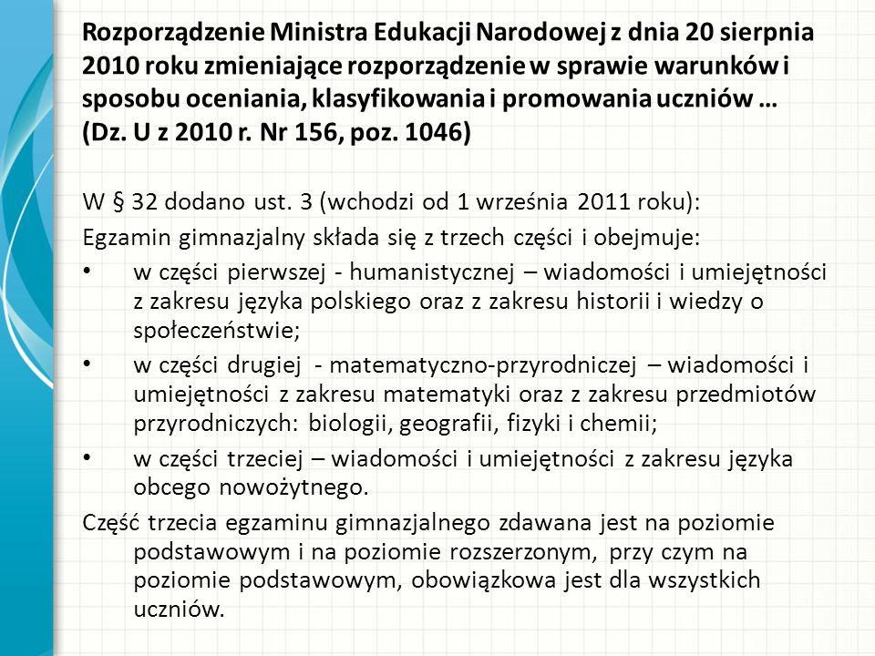 Rozporządzenie Ministra Edukacji Narodowej z dnia 20 sierpnia 2010 roku zmieniające rozporządzenie w sprawie warunków i sposobu oceniania, klasyfikowania i promowania uczniów … (Dz.