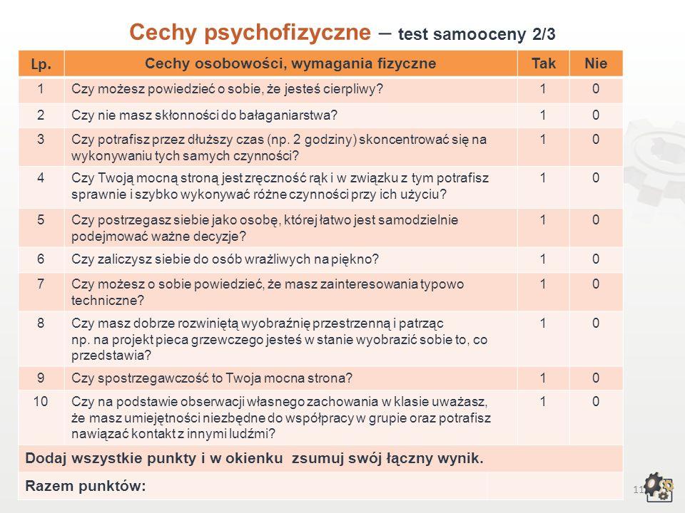10 Cechy psychofizyczne Test samooceny 1/3 Decydując się na podjęcie pracy w zawodzie zduna, powinniśmy przede wszystkim wziąć pod uwagę swoje możliwo