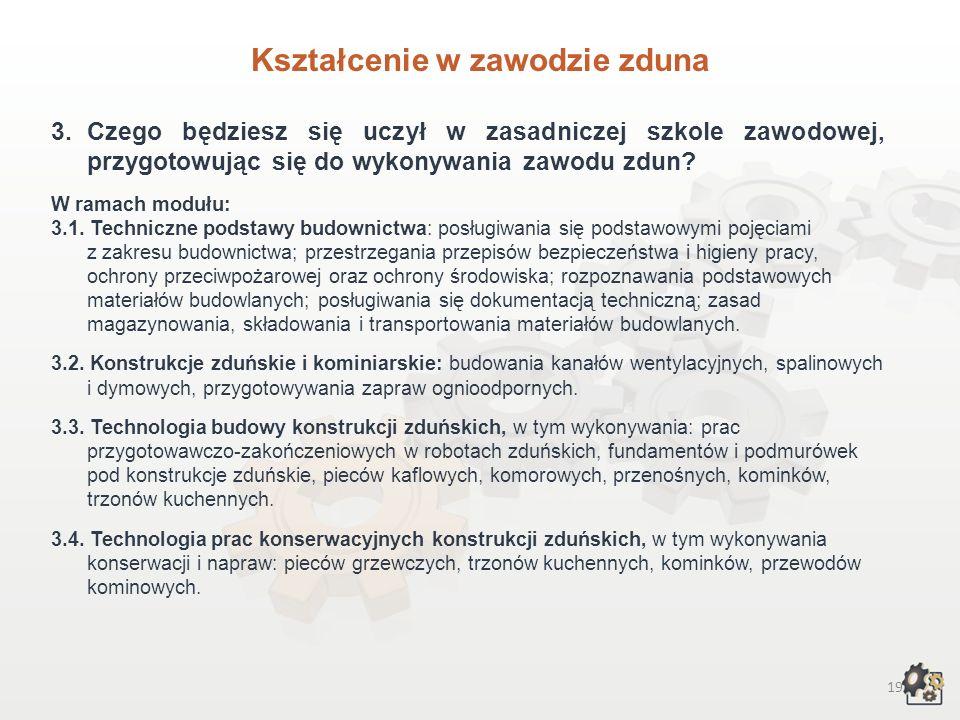 18 Kształcenie w zawodzie zduna 1.Aby pracować w zawodzie zduna, możesz: 1.1. Jako absolwent gimnazjum – wybrać trzyletnią zasadniczą szkołę zawodową.
