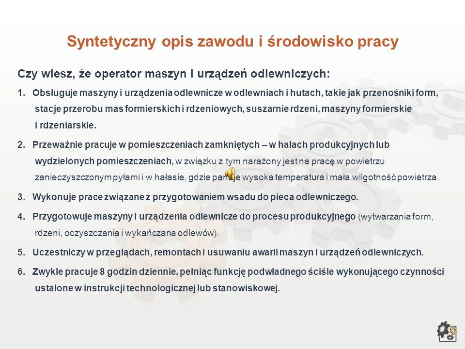 Syntetyczny opis zawodu i środowisko pracy Czy wiesz, że operator maszyn i urządzeń odlewniczych: 1.