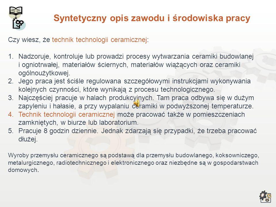 TECHNIK TECHNOLOGII CERAMICZNEJ Multimedialna charakterystyka zawodu Nazwa zawodu: TECHNIK TECHNOLOGII CERAMICZNEJ Kod zawodu w klasyfikacji szkolnict