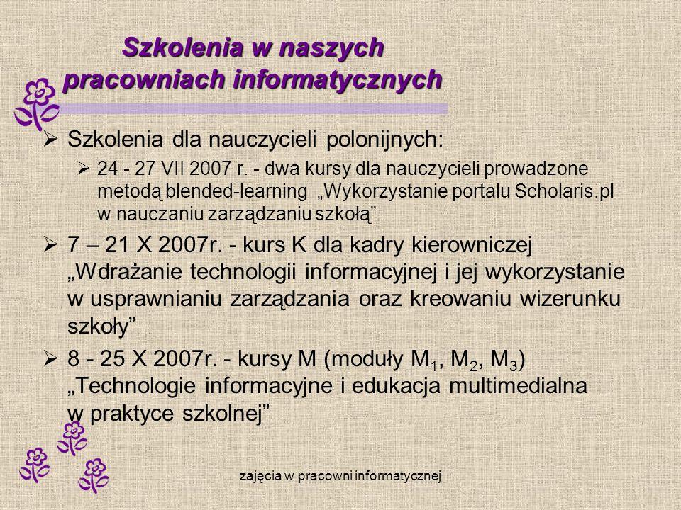 zajęcia w pracowni informatycznej Szkolenia w naszych pracowniach informatycznych Szkolenia dla nauczycieli polonijnych: 24 - 27 VII 2007 r. - dwa kur