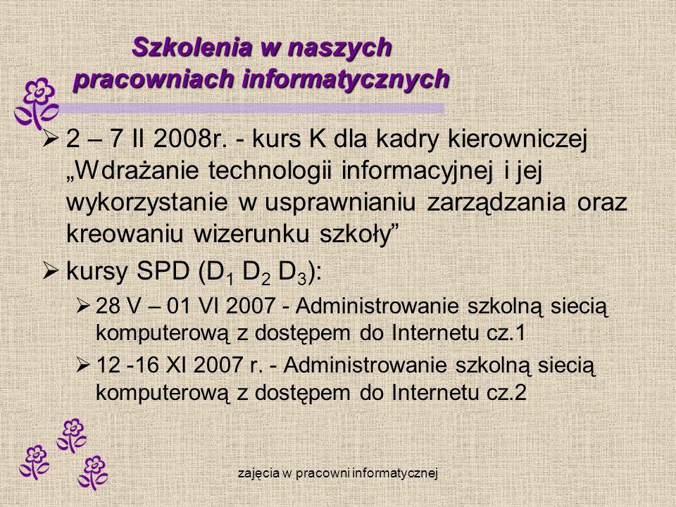 zajęcia w pracowni informatycznej Szkolenia w naszych pracowniach informatycznych 2 – 7 II 2008r. - kurs K dla kadry kierowniczej Wdrażanie technologi