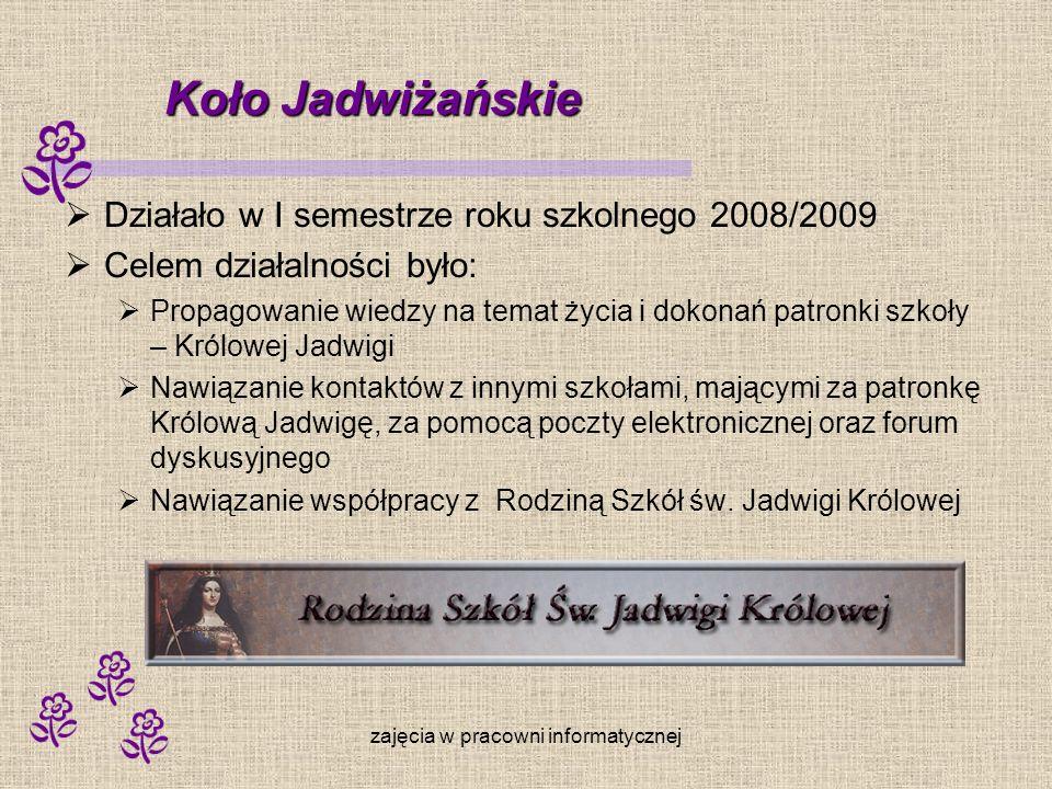 Koło Jadwiżańskie Działało w I semestrze roku szkolnego 2008/2009 Celem działalności było: Propagowanie wiedzy na temat życia i dokonań patronki szkoł