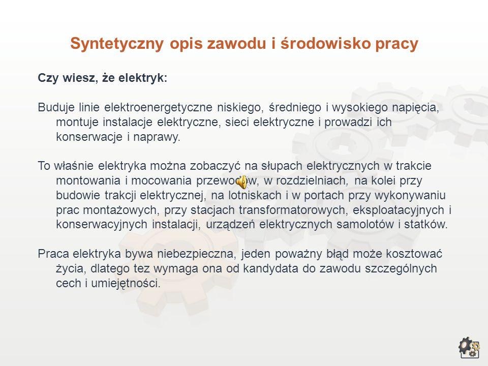 ELEKTRYK Multimedialna charakterystyka zawodu Nazwa zawodu: elektryk Kod zawodu w klasyfikacji szkolnictwa zawodowego: 724[01] Kod zawodu w klasyfikac