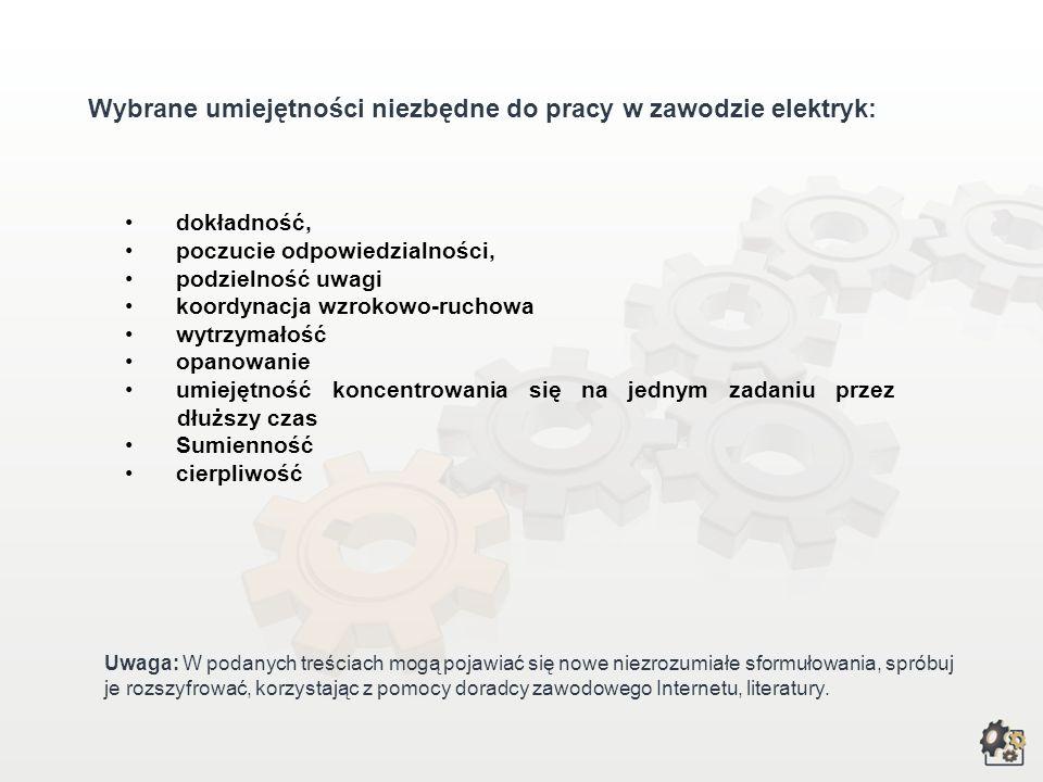 Zadania i umiejętności zawodowe Wybrane zadania zawodowe: projektowanie instalacji elektrycznych, sieci elektrycznych; instalowanie i uruchamianie mas