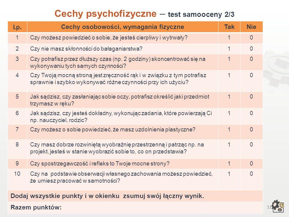 10 Cechy psychofizyczne Test samooceny 1/3 Decydując się na podjęcie pracy w zawodzie koszykarza-plecionkarza, powinniśmy przede wszystkim wziąć pod u