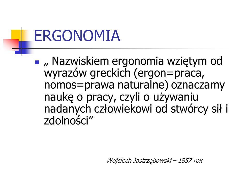 ERGONOMIA Nazwiskiem ergonomia wziętym od wyrazów greckich (ergon=praca, nomos=prawa naturalne) oznaczamy naukę o pracy, czyli o używaniu nadanych czł