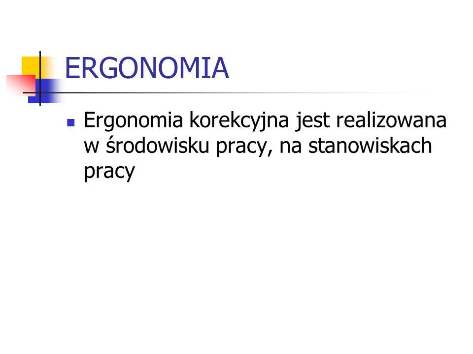 ERGONOMIA Ergonomia korekcyjna jest realizowana w środowisku pracy, na stanowiskach pracy