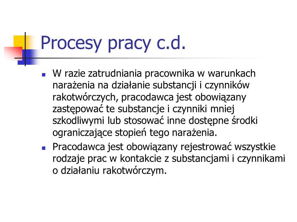 Procesy pracy c.d. W razie zatrudniania pracownika w warunkach narażenia na działanie substancji i czynników rakotwórczych, pracodawca jest obowiązany