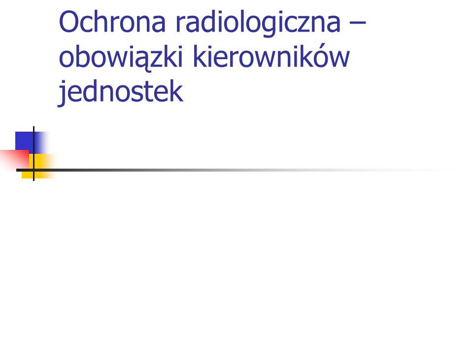 Ochrona radiologiczna – obowiązki kierowników jednostek